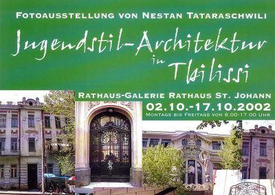 """2002 – The poster of N. Tatarashvili's Photo Exhibition """"Art Nouveau  in Tbilisi"""" in Saarbruecken and Berlin"""
