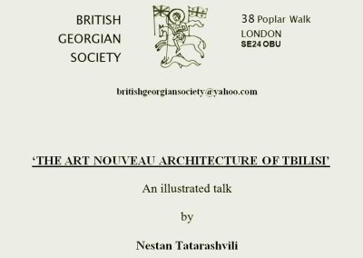 2009 – The Art Nouveau Architecture in Tbilisi. London, UK