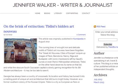 2012 – Walker J. On the brink of extinction: Tbilisi's hidden Art Nouveau