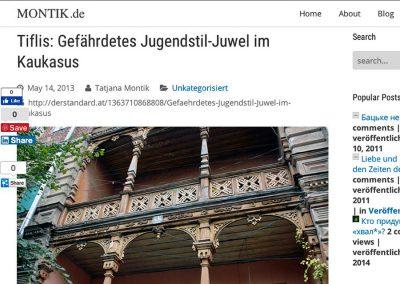 2013 – Tatjana Montik. Tiflis: Gefährdetes Jugendstil-Juwel im Kaukasus