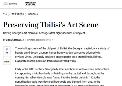 2017 – Mainville M. Preserving Tbilisi's Art Scene. Travel+Leisure, USA